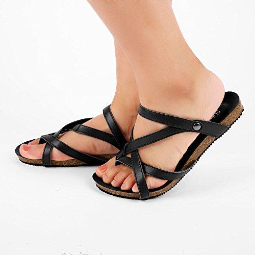 Sibba Zehentrenner Sandale und Pantoffeln 2 in 1 Sommer Einstellbare Flachschuhe Schwarz/Braun Schwarz