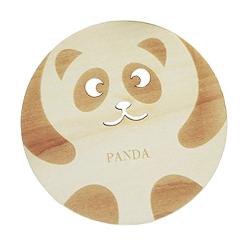 2PCS Cute Wooden Coasters Cup Mats Plate Drinks Holder Table Decor, Panda