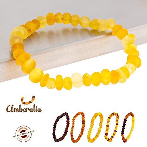 (Connene Elastic Baltic Amber Bracelet Adult, Unisex, Carpal Tunnel Natural Remedy (Raw Lemon, 8))