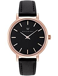 WRISTOLOGY Charlotte Petite Womens Watch - Rose Gold - Black Leather Interchangeable Band - CH006