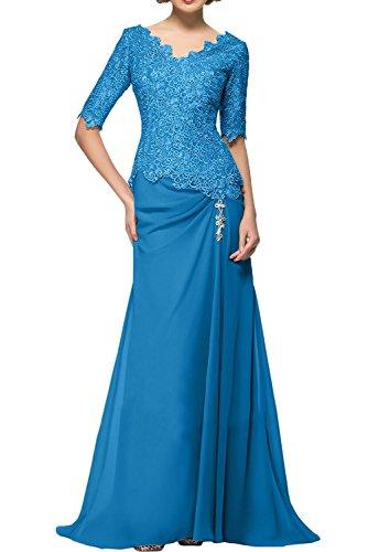 Marie Blau Blau Brautmutterkleider Langarm Spitze La Braut Ballkleider Abendkleider Etuikleider AqdwPUPnaW