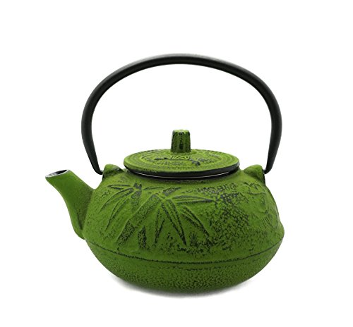 Japanese Tetsubin Plum & Asian Bamboo Green Cast Iron Teapot 20 Ounce with Infuser