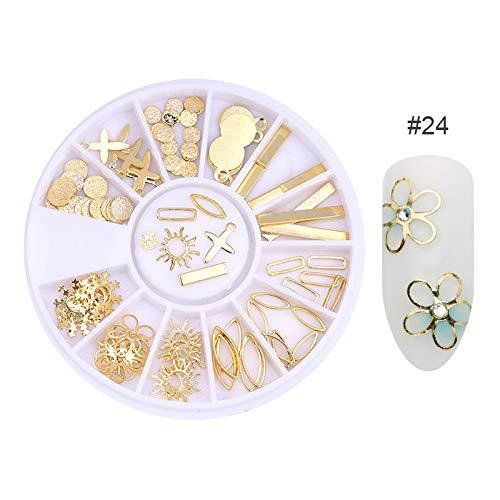 DIY Nail Art Wheel Tips Crystal Glitter Rhinestone 3D Nail Art Decoration White Multi-Color Acrylic Diamond Drill 24 by DKjiaoso