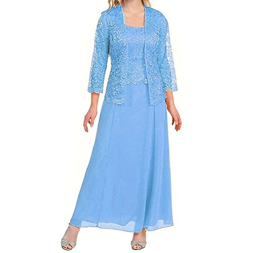VaniaDress Women Lace A Line Long Evening Dress With Jacket V108LF Sky Blue US17W from VaniaDress