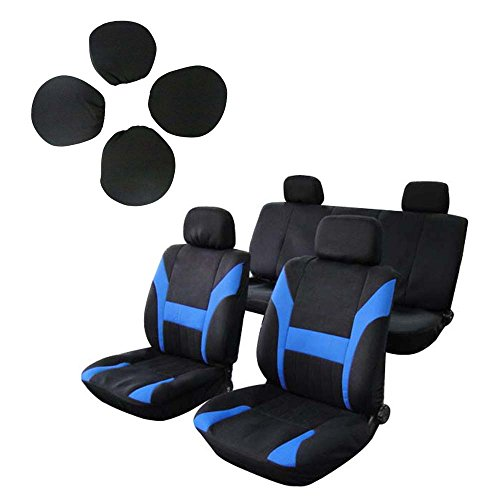 SCITOO Universal Black/Blue Car Seat Cover w/Headrest Polyester Seat ()