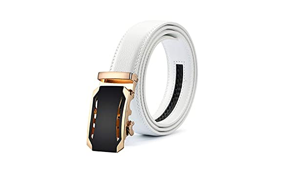 New Mens Fashion Automatic Buckle Leather Luxury Man cinturones hombre Black white Belt Alloy buckle White belt for Men,29,115cm