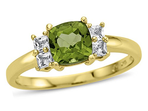 Finejewelers 6x6mm Cushion Peridot and White Topaz Ring 10 kt Yellow Gold Size 7