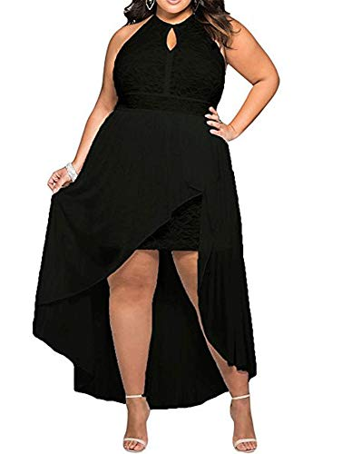 8818 - Plus Size Hi Low Lace Overlay Halter Cocktail Wedding Maxi Dress (2X, Black)