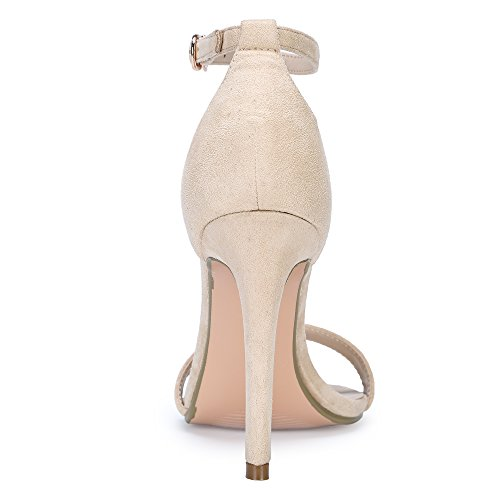IDIFU Slim Open Sandal HI Women's High Stiletto Nude Suede IN4 Strap Heel Toe Ankle HrwqrE