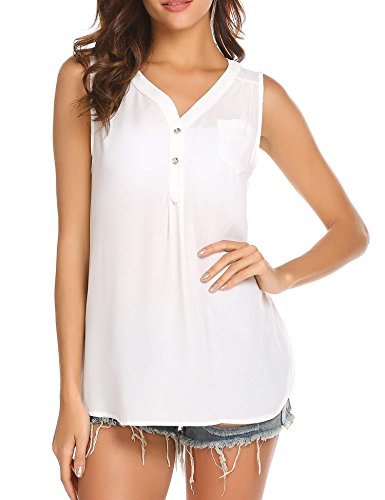 SoTeer Womens Chiffon V Neck Tops Loose Sleeveless Button Shirt Blouse White
