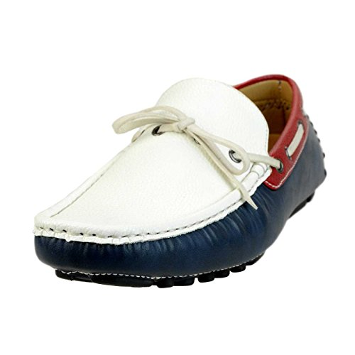 Lucius AN Mens Loafer Shoes Slip On Plain Toe Opera Shoes Driving Loafers Bit Apt308-4 Tricolore vQ7gAlV91y