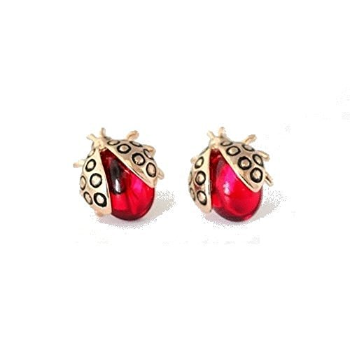 Ladybugs Stud Earrings with Red Zirconia Crystals 18 ct Rose Gold Plated for Women and Girls