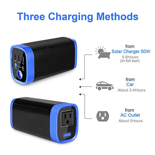 Moskee Portable Power Station 74Wh 20000mAh with 110V Peak 150w AC Outlet Camping Solar Generator Lithium Battery Backup Power Supply 3 USB Ports for Outdoor Camping Travel Emergency