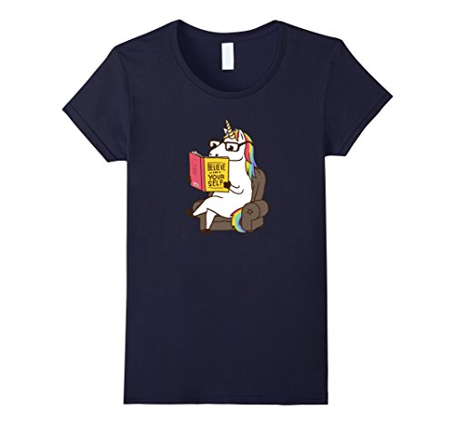 Costume In A Bunny Pug (Women's Unicorn Shirt Believe in Yourself Motivational Book Lover XL)