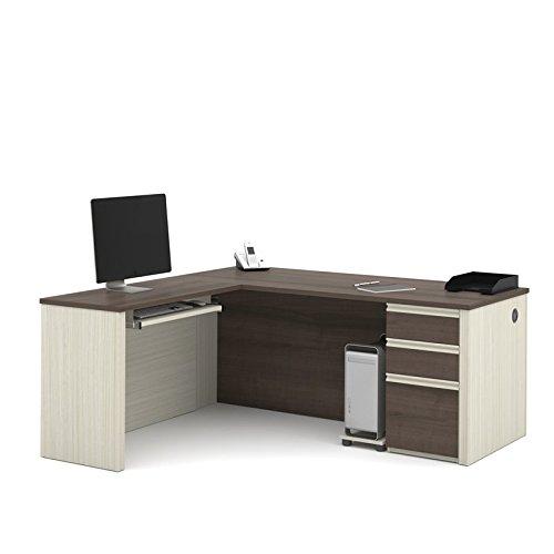 Bestar Prestige L-shaped workstation including one pedestal in White Chocolate & Antigua (L-shaped Office Pedestal)