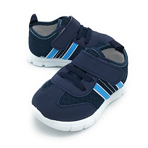 Blue Berry Baby's Boy's Girl's Casual Light Weight Breathable Strap Sneakers Running Shoe (3 M US Toddler, 1209NAVY)