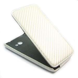 Cerhinu Carbon Fibre Flip Leather Flip Skin Case Cover for HTC Droid DNA X920e White + 1 pcs gift