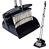 iHomey Dustpan and Broom Set-48''/49'' Overall Length/Stainless Steel Handles / 2 Broom Heads Replaceable / 4 Layers Bristles(Black)