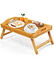 Bamboo Bed Tray Table for Eating TV Breakfast Tray for Bed Foldable Wood Food Dinner Serving Tray with Folding Legs for Bedroom, Hospital, Home by FURNINXS