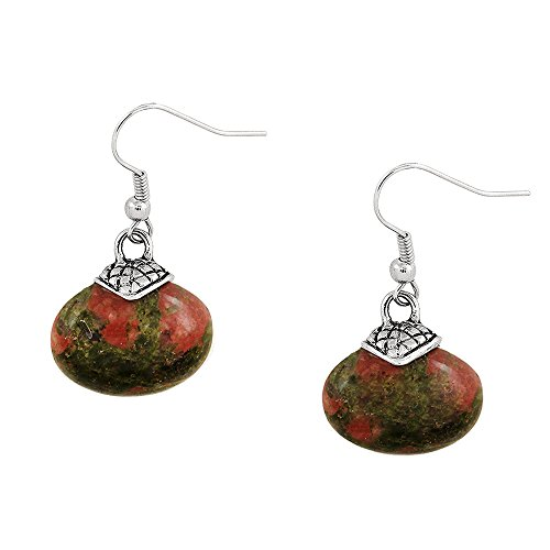 Falari Natural Stone Oval Shaped Earring Unakite (Earrings Unakite Hook)