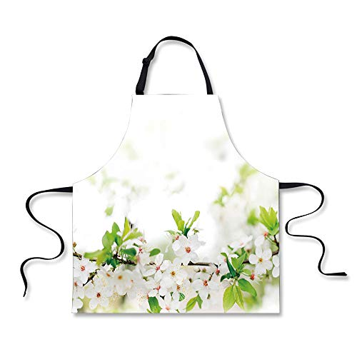 iPrint Cooking Apron,Flower,White Springtime Blossoms on Tre