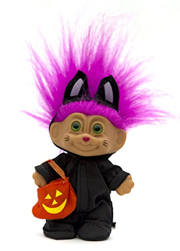 My Lucky Mini Cat Costume Troll Doll - Fuchsia Hair (Troll Doll Halloween Costume)