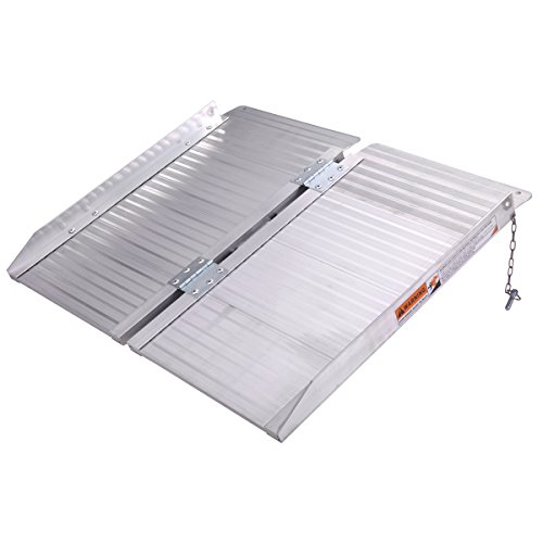 2' Folding Aluminum Wheelchair Threshold Ramp Suitcase Mobility Portable with (2' Threshold Ramp)