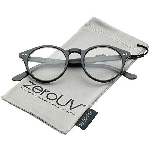 zeroUV - Retro Keyhole Nose Bridge Clear Lens P3 Round Glasses 46mm (Matte Black / - Clear Frames Zerouv