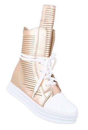 Sportliche Damen Sneakers | Sneaker Wedges luftig | Keilabsatz Schuhe | Wedge Sportschuhe | Basketball Style | Schuhcity24 Rosa