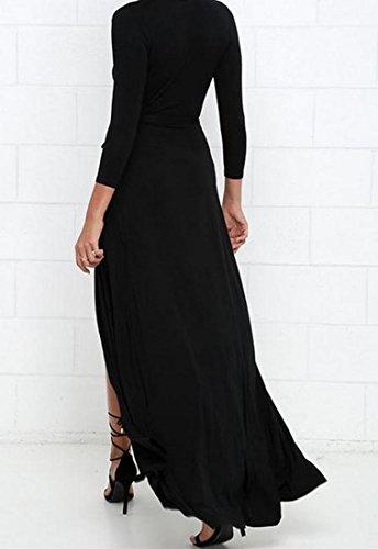 Coolred Womens Profonde V-cou Décontracté Grand Ourlet Fendu Robe De Soirée Noire
