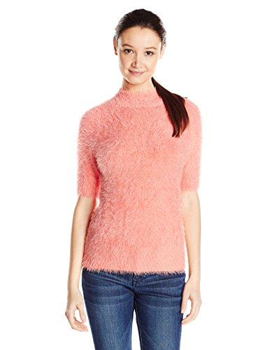 ALMOST FAMOUS Junior's Short Sleeve Mock Neck Sweater, Br...