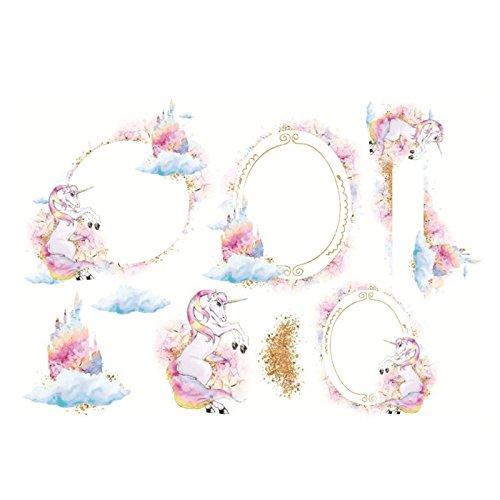 HNBGY Moderno 3Pcs Simple Style Unicorn Patterns Adesivi Confezione di adesivi per diario Adesivi artigianali Etichetta di codifica per album (rosa)