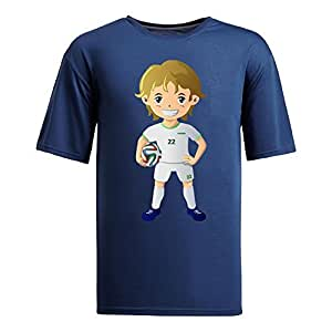 Custom Mens Cotton Short Sleeve Round Neck T-shirt,2014 Brazil FIFA World Cup UP72 navy