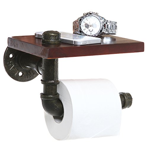 Pipe Design Brown Wood & Black Metal Wall Mounted Bathroom Shelf/Toilet Paper Roll Holder ()