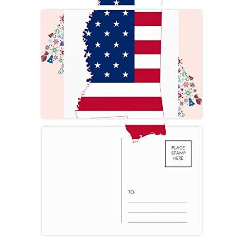 Mississippi USA Map Stars Stripes Flag Shape Christmas Tree Postcard Thanks Card 20pcs (Postcard Mississippi)