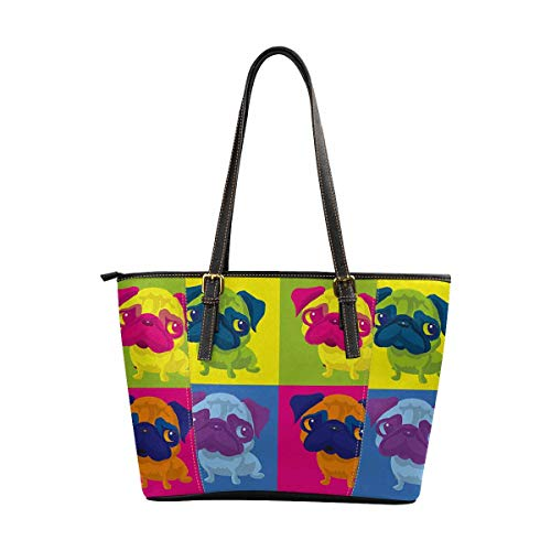 InterestPrint Women Tote Bags Top Handle Handbags PU Leather Purse Pug Dog Andy Warhol Style