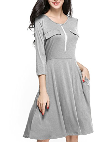 Girl2Queen Women's 3/4 Sleeve A-Line Dress, Fit and Flare Dress With (Designer Pocket)