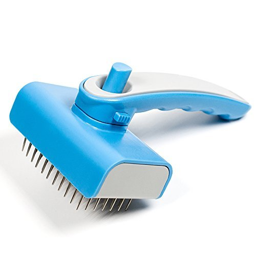 Pet Self Cleaning Slicker Brush,Horsky Dog Cat Hair Grooming Comb for Small and Large Pet,Works with Short and Long Hair,Easy to Removes Tangled Knot/Mats/Undercoat/Loose Hair Blue