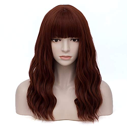 Women's Auburn Wavy Wig with Bangs Middle Length Synthetic Wigs for Daily Use or Costume -