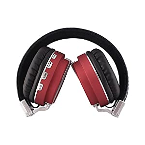 Alltrum Foldable Over-Ear Headphone,Wireless Headsets With Built-in Mic,High Quality Stereo Sound,Lightweight,Comfortable Wearing Feeling,Noise Reduction,SD Card,Wired Modes for Phone / PC, Red