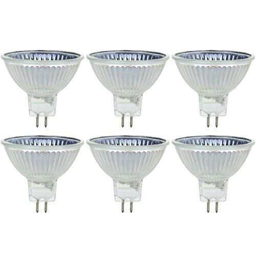 Sunlite Series 50MR16/CG/FL/12V/6PK Halogen 50W 12V MR16 Flood Light Bulbs, 3200K Bright White, GU5.3 Base, 6 Pack