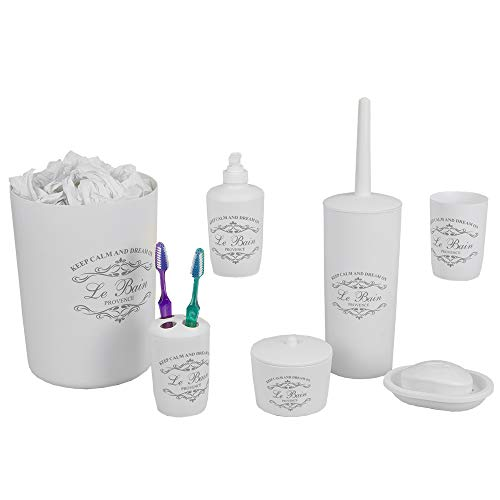 Home Basics Paris Collection 7 Piece Bath Ensemble Bathroom Accessory Set - Toilet Brush, Tumbler, Tootbrush Holder, Soap Holder, Lotion Dispenser and More! (White)