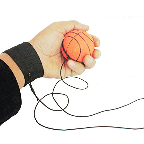ZUYEE Wrist Band Ball Rubber High Bounce with Velcro Wrist & Elastic String Rebound Bouncy Balls On String for Finger Stiffness Relief Wrist Exercise,Children Gift Sport Toy Balls (Pack of 4) by ZUYEE