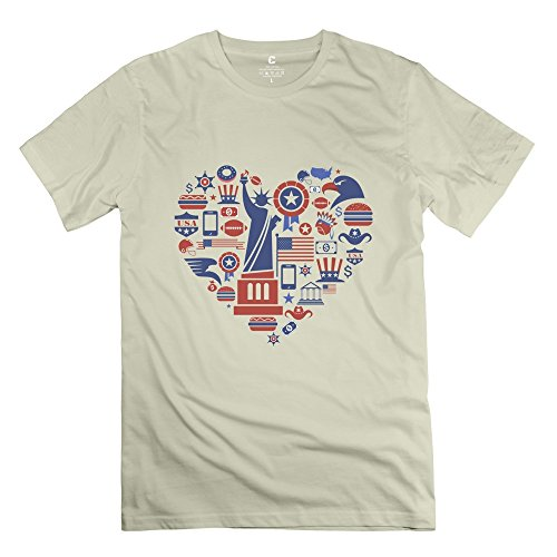 XY-TEE Men's Tee Statue Of Liberty Heart-shaped Natural Size S