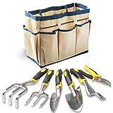 Enegitech Gardening Tools Set, 7 Piece Garden Hand Tools Heavy Duty Gardening Kit Includes Weeder Hand Trowel Spade Rake Garden Fork Pruning Shear for Kids Women Man Garden Gift Set