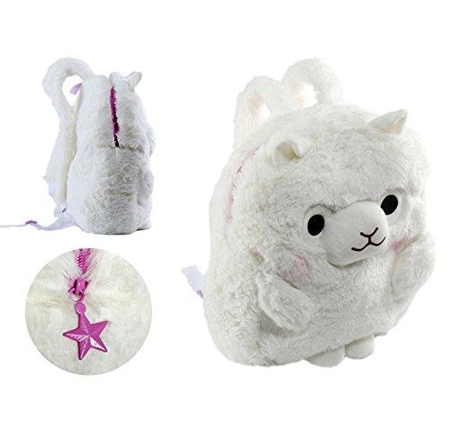 KOSBON 13 '' 3D lindo lana de alpaca niño mochila niños mochila.(Rosa) blanco