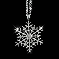 Christmas Crystal Snowflake Silver Charm Chain Necklace Pendant Walking Street