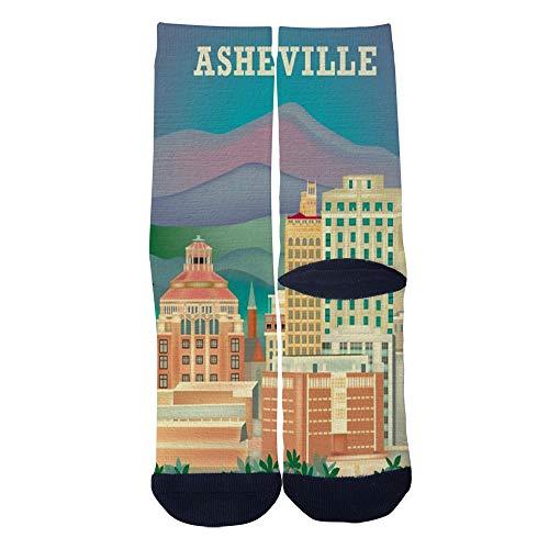 Men's Women's Custom Asheville North Carolina Skyline travel poster Socks 3D Print Novel Creative Casual Crew Socks Black -