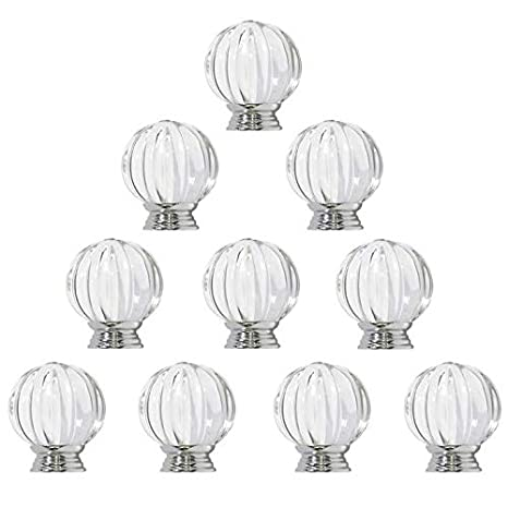 10 X Probrico 30mm Clear Crystal Acrylic Kitchen Cabinet Door Knobs Pumpkin Shape Furniture Chest Pull Drawer Handle with Screws
