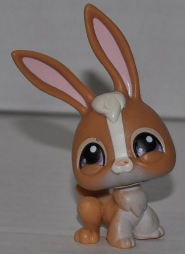 Rabbit #28 (Brown/White) Littlest Pet Shop (Retired) Collector Toy - LPS Collectible Replacement Single Figure - Loose (OOP Out of Package & Print) (Littlest Pet Shop 28)